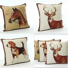 Country Lodge  Horse , Beagle or Stag 17in x 17in Tapestry Cushion Covers