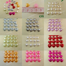 100-1000 Pearl Heart Bead Flatback Wedding Craft Scrapbooking 10mm 10colors DIY