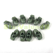 LOT 10-100 PCS Grenade Shoe Lace Buckle Stopper Rope Clamp Cord Lock OD GREEN