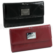 KENNETH COLE NEW YORK GLAZED ANTIQUE LEATHER WOMENS CLUTCH WALLET  BLACK OR RED