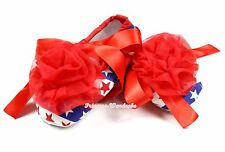 4Th July Baby USA Flag Stripe Star Red Ribbon Crib Shoe & Red Rosette NB-18Month