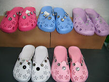Girls Light Pink Or Purple Or Blue Or Fuschia Or White Jewelled Slip on Sandals