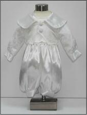 Baby Boys Christening Romper Suit + Hat - 0/3 to 12/18 Month