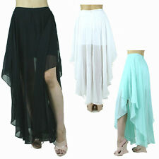 Double Layer Chiffon Pleat Asymmetrical Solid Long Cascade Draped Hem Maxi Skirt