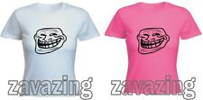 TROLLFACE LADY FIT T-SHIRT INTERNET TROLL MEME COOL AWESOME GUY FACE PRESENT