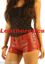 Red Genuine leather shorts sexy tight fit nice detailed hot 502R