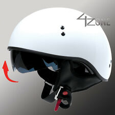 TORC T55 SOLID WHITE HALF MOTORCYCLE HELMET WITH VISOR DOT APPROVED
