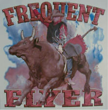FREQUENT FLYER  COWBOY BRONCO BUSTING RIDING WESTERN RODEO SHIRT #1308