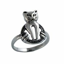 Solid 925 Sterling Silver Pussy-Cat High Polished Ring Size 6 7 8 9
