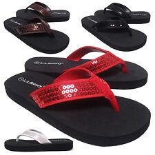 "NEW Womens Sequin Thong 1"" Low Heel Flip Flop Sandal Shoe 4 Colors Size 6 to 11"