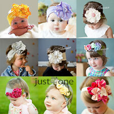 Newborn Infants Baby Kids Girls Hair Decoration Cotton Flower Elastic Headband