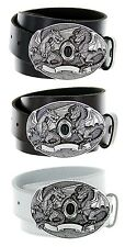 Twin Dragons Made in Italy Silver Buckle with Genuine Leather Casual Belt Strap