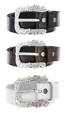 Lion Heads Made in Italy Silver Buckle with Genuine Leather Casual Belt Strap