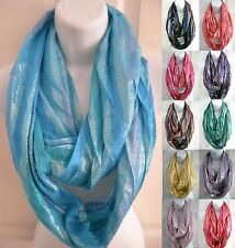 US SHIP(12 color)  womens SOFT shiny GLITTER infinity circle scarf eternity loop