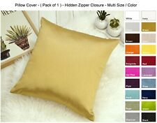 Solid Faux Silk Euro Sham / Pillow Cover , Multi Size / Color