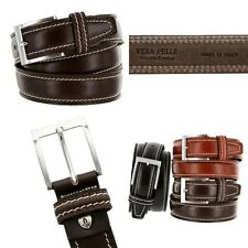 "Men's Italian Genuine Leather Dress Casual Golf Belt 1-3/8"" wide Made in Italy"