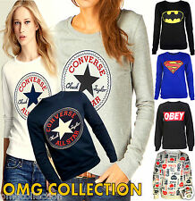 WOMENS LADIES COMIC SUPERMAN BATMAN CONVERSE OBEY COLA SWEAT SHIRT JUMPER TOP TE