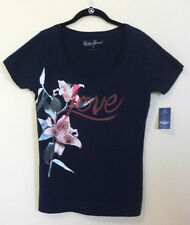Lucky Brand Love Graphic Tee T Shirt Top Navy in M Medium L Large or XL Extra L