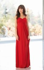 TEATRO Full length red strapless evening maxi dress w boned pleated bust BNWT