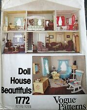 Vtg 80s VOGUE doll house furniture pattern bedroom living room dining nursery
