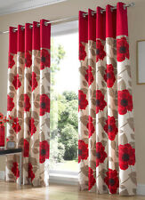 "HARPER RED EYELET  FULLY LINED CURTAINS."" .9 Sizes Available"