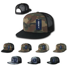 NEW DECKY Army Camouflage Camo Flat Bill Trucker Hats Hat Caps 6 Panel Snapback