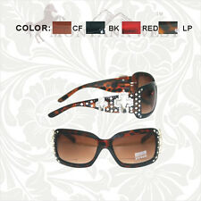 DOUBLE CROSS MONTANA WEST BLING RHINESTONE WESTERN SUNGLASSES BLACK BROWN RED