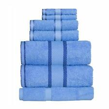 Blue 100% Cotton Towel Range Sets or Pcs Bath Sheet Towel Hand Face Washer Mat