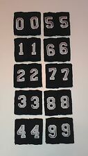 """2 Numbered Custom 1.5"""" Cotton Athletic Sports Wristbands - Black/Silver -1 Pair"""