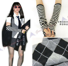 Casual Women Knits Long Arm Warmers Sleeves Winter Fingerless Gloves Striped New