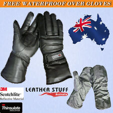 Motorcycle Motorbike Soft Leather Winter Gloves with waterproof rain cover