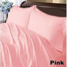 USA 1000TC Complete Soft  Bedding Collection Pink Stripe 100%Cotton Choose Item