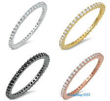 .925 STERLING SILVER 1.5MM STACKABLE ETERNITY DESIGN CZ RING W/ STONE SIZES 4-10