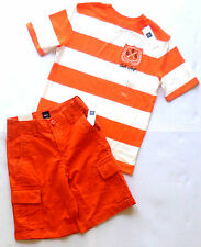 new/nwt GAP Boys 2pc Orange&White Wide Striped T-shirt/Top & CARGO Shorts OUTFIT