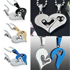 1 Pair Couple Lover Necklace I Love You Heart Shape Pendant Stainless Steel