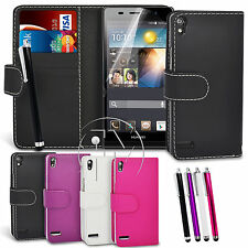 BOOK WALLET CASE FLIP LEATHER CASE COVER POUCH FOR HUAWEI ASCEND P6
