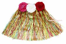 Halloween Party Adult Kids Costume Hawaiian Dance Rainbow Color Grass Hula Skirt