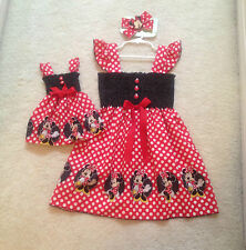 New Handmade Minnie Mouse Red w/dots Toddler,Girls Dress, Doll Dress