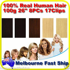 "New Clip in Real Human Hair Extensions 26"" 100g 8PCs REMY on Black Brown Blonde"