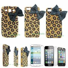 3D Bling Diamond Crystal Pearl Leopard  Bow Case For iPhone 4 S 5 6 Galaxy S3