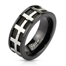 Black IP Band 8mm Ring w/ Stainless Steel Bars Over Black Wires R536