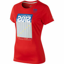 new womens sz L Nike tracktown USA 2012 olympic trials t-shirt red/eugene oregon