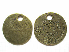 2 or 4 Large  Bronze charms/pendants 'Love beyond the Moon and Stars' 37mm