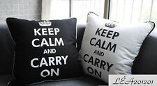 "45x45cm Black White ""Keep Calm & Carry On"" Cotton Canvas Cushion Cover"