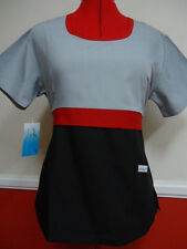 Medical Nursing Scrubs Grey, Red & Black, PRETTY TOP XS, S, M, L, XL, 2XL & 3XL