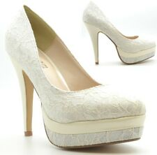 WOMENS IVORY PU MESH HIGH HEELS ANKLE CELEBRATIES PARTY SHOES SIZE 3-8