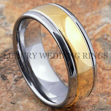 Tungsten Mens Ring 18k Gold Wedding Band 8mm Engagement Bridal Jewelry Size 6-13