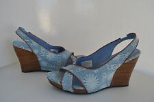 UGG Women's Hazel Denim Light Blue Wedge Heel Clog Sandals Size US 5 ~ 8 ~ NWB
