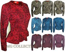 WOMENS NEW LADIES VELVET FLORAL PEPLUM BUTTON COPPED JACKET COAT SIZE / 8 -14
