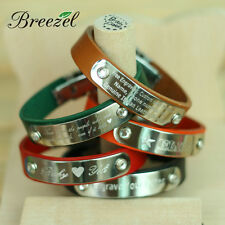 Free Engraving, Personalized Bracelet Custom Leather Wristband, Lover Name Gifts